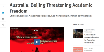 Human Rights Watch says China's government and its supporters have monitored, harassed and intimidated pro-democracy Chinese students living in Australia(Image:screenshot)