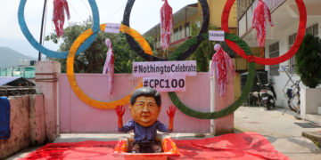 Students for a Free tibet Protests on the 100th Anniversary of CPC  1st July 2021 at Mcloed Ganj. (Tibet Times)