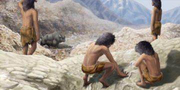 Artist's imagining of two mid-Pleistocene hominins making their marks.Illustration: Gabriel Ugeto