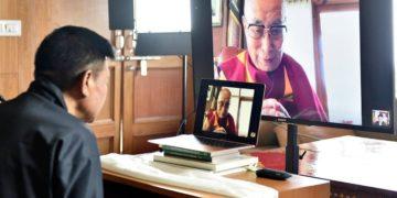 Sikyong Penpa Tsering is updating the CTA's work to His Holiness The 14the Dalai Lama.