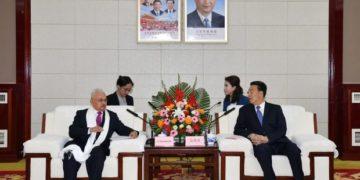 Nepal Embassador Mahendra Bahadur Pandey mets Wang yang in Lhasa at his visit to Tibet.