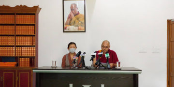 Elected TPiE member Dolma Tsering (L) and Khenpo Sonam Tenphel (R) addressing the press conference on 7th October, 2021. Photo: Tibet Times